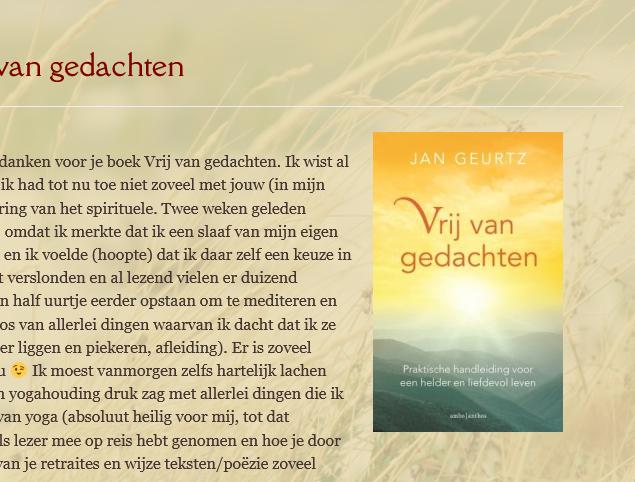 Reacties lezers op boek vrij van gedachten Jan Geurtz
